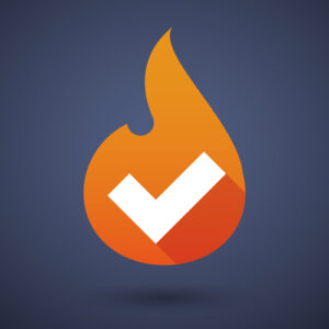 Flame icon with an ok sign