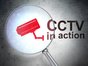 Protection concept: Cctv Camera and CCTV In action with optical