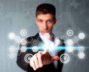 Man pressing digital button